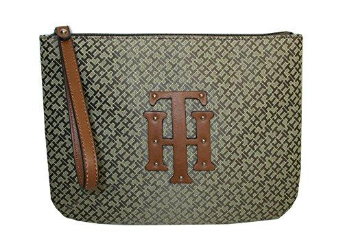 Tommy Hilfiger Logo Wristlet Bag Khaki Canvas