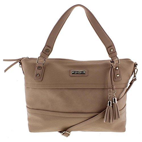 Jessica Simpson Womens Vesey Faux Leather Satchel Handbag Beige Large