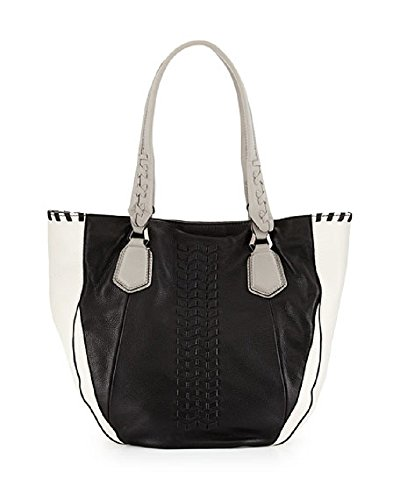 orYANY Lyssie Pebbled Leather Colorblock Shoulder Bag Tote, Black White Grey