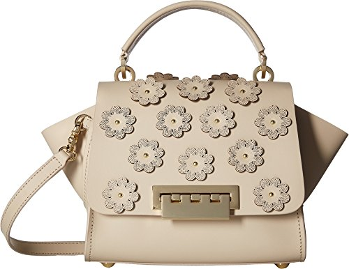 ZAC Zac Posen Women's Floral Applique Eartha Iconic Top Handle Cross Body Bag, Sand Dollar, One Size