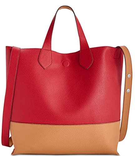 Style & Co. Clean Cut Reversible Crossbody Tote Red/Tan