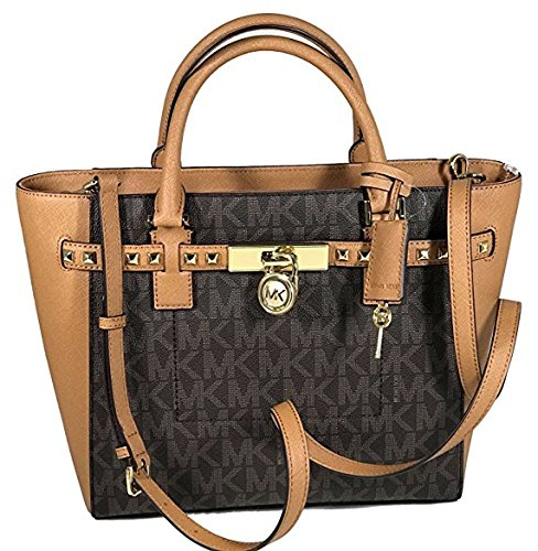 Michael Kors Women's Hamilton Traveler STUDDED Large TOTE Leather Handbag (Brown/Acorn)