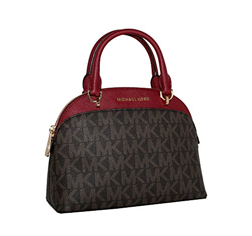 MICHAEL Michael Kors EMMY Women's Shoulder Handbag SMALL DOME SATCHEL (Brown/cherry)