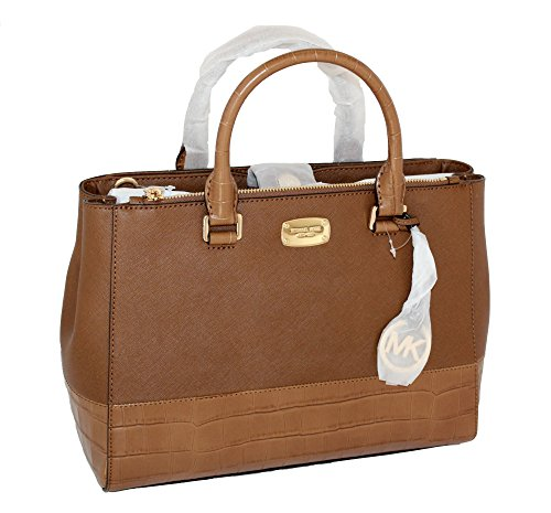 MICHAEL Michael Kors Women's KELLEN MEDIUM SATCHEL LEATHER Shoulder Handbags (Luggage)