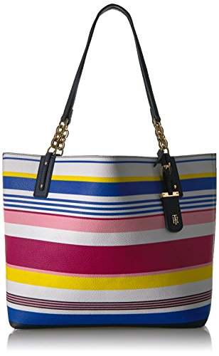 Tommy Hilfiger Travel Tote Bag for Women Gabby, Geranium Stripe/ Multi