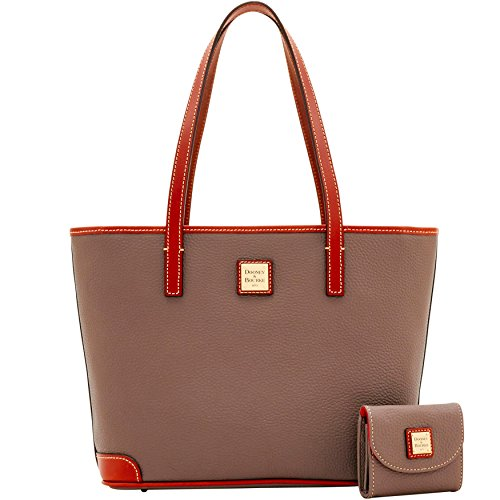 Dooney & Bourke Pebble Grain Leather Charleston Tote Shoulder Bag Purse Handbag with Matching Card Case, Elephant
