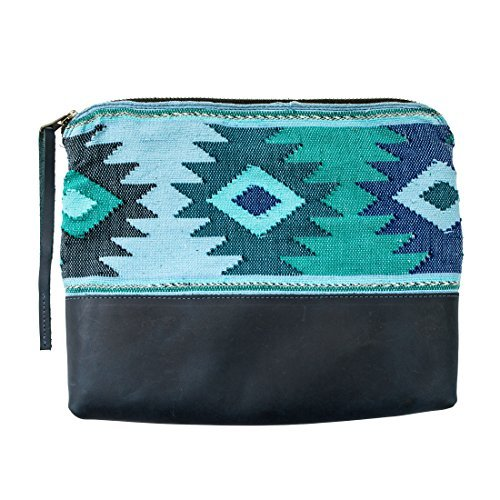 Guatemalan Native Comalapa Clutch Bag Handmade by Hide & Drink :: Blue
