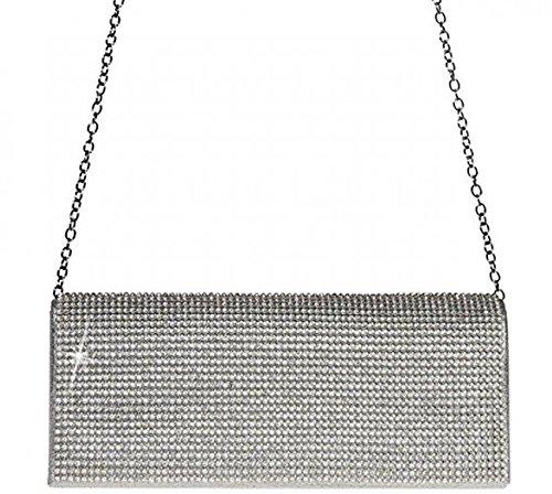 ELEOPTION Women Ladies' Evening Clutch Wedding Purse Handbag for Party Prom (Rectangle-Silver)