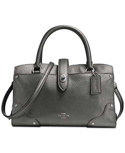 Coach Mercer Satchel 24 Metallic Leather Shoulder Bag 59988 Gunmetal