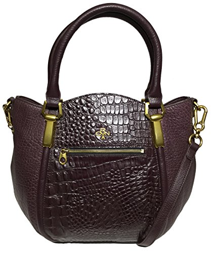orYANY Woman's Leather Croco Satchel, Eggplant