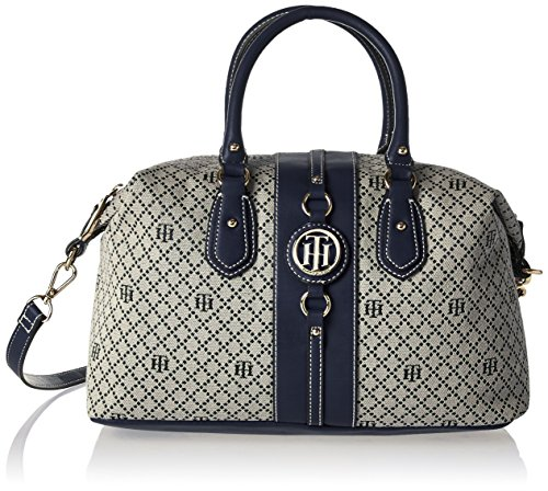 Tommy Hilfiger Handbag for Women Jaden Satchel, Navy Natural