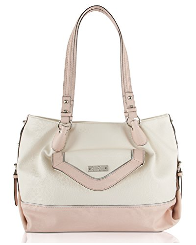 Jessica Simpson Britney Tote Shoulder Bag – Cream/Pink/Silver