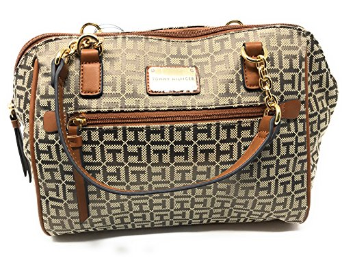 Tommy Hilfiger Handbag Signature Pattern Brown Satchel Tote Purse