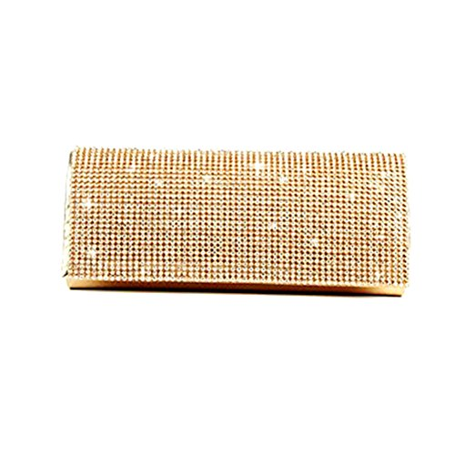 ELEOPTION Women Ladies' Evening Clutch Wedding Purse Handbag for Party Prom (Rectangle-Gold)