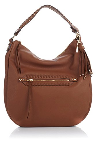 Jessica Simpson Women's Angie Top Zip Hobo Shoulder Bag, Chestnut, OS