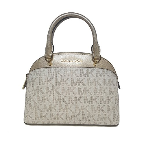 MICHAEL Michael Kors EMMY Women's Shoulder Handbag SMALL DOME SATCHEL (Vanilla/gold)
