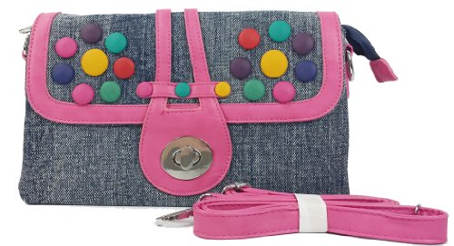 k13505 Mylux Women/Gril Close-out CANDY Denim Clutch Bag (pink)