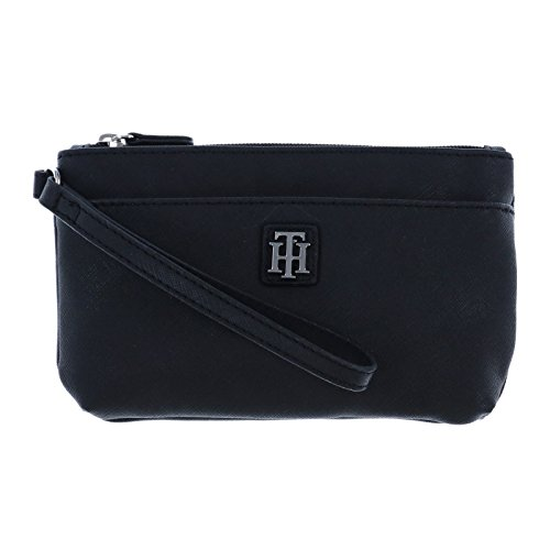 Tommy Hilfiger Womens Two Pocket Wristlet in Black