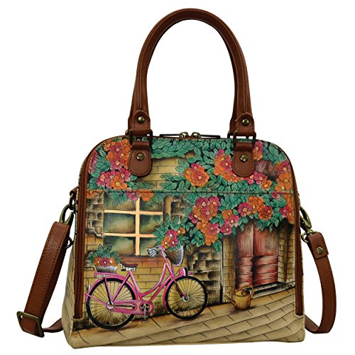 Anuschka Hand Painted Designer Leather Handbag-Christmas gifts for women- Zip Around Convertible leather satchel (Vintage Bike 606 VTB)