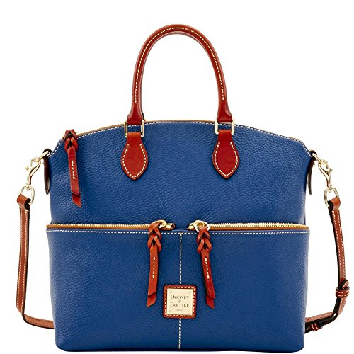 Dooney & Bourke Pebble Grain Double Pocket Satchel Ocean Blue