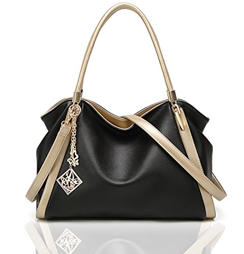 Women Tote Hobo Handbag Soft PU Leather Crossbody Shoulder Bag Satchel Mother's Day Gift for Mom(Black)