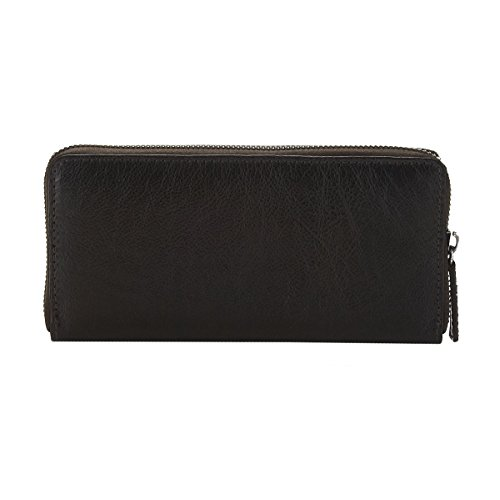 OrYANY Black Leather Zip Around Wallet