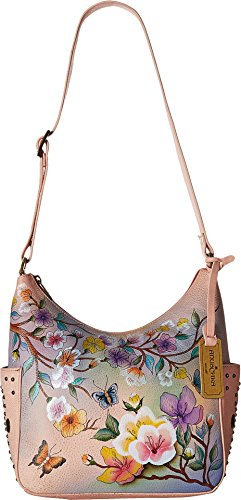 Anuschka Women's Hobo Leather Hand Painted Shoulder Bag, Japanese Garden
