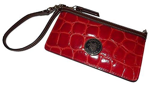 Dooney & Bourke Croc Embossed Leather Large Slim Wristlet Clutch Red
