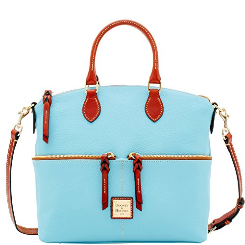 Dooney & Bourke Pebble Leather Double Pocket Satchel Caribbean Blue