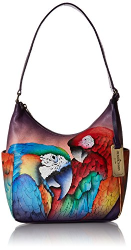 Anuschka Women's Hobo Leather Hand Painted Shoulder Bag, Rainforest Royalty