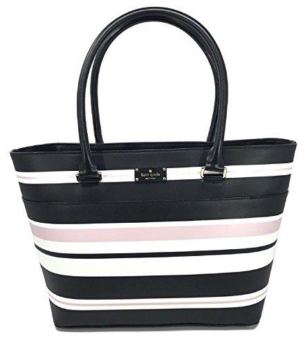 Kate Spade Grove Street Classic Stripe Margareta Handbag Tote , Black Multi