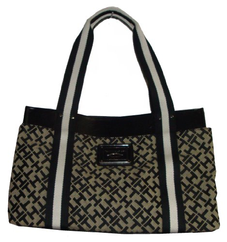 Tommy Hilfiger Women's Iconic Handbag, Medium, Black Alpaca