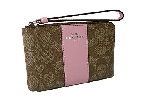 New Coach C Signature Logo Wristlet Hand Bag Purse Khaki Blush Pink Corner Zip