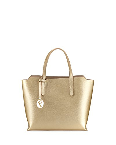 Furla Sally Small Saffiano Leather Tote Bag, Gold