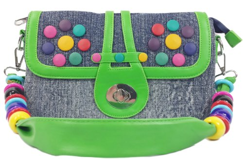 k13505 Mylux Women/Gril Close-out CANDY Denim Clutch Bag (green)