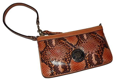 Dooney & Bourke Snakeskin Embossed Leather Large Slim Wristlet Clutch Brown