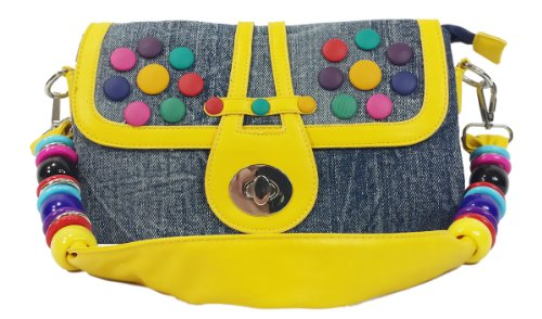 k13505 Mylux Women/Gril CANDY Denim Clutch Bag (yellow)