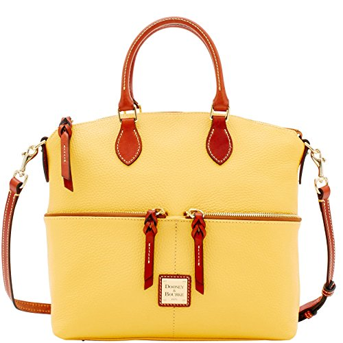 Dooney & Bourke Pebble Grain Double Pocket Satchel Lemon