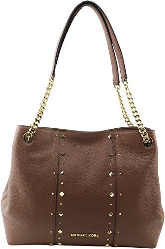 MICHAEL Michael Kors Women's Jet Set Item Large Shoulder STUDDED Leather Handbag (Luggage)