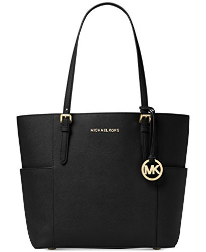 Michael Kors Women's Large Jet Set Travel Leather Top-Handle Tote – Black