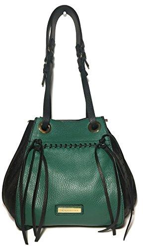 BCBG MAXAZRIA Green and Black Mikko Leather Handbag