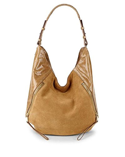 Halston Women's Logo Leather Hobo Bag caramel