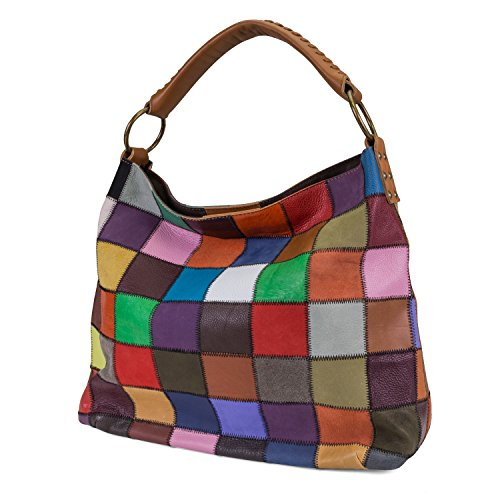 Kooba Womens Multicolored Patchwork Leather Handbag With Interior Zippered Pockets