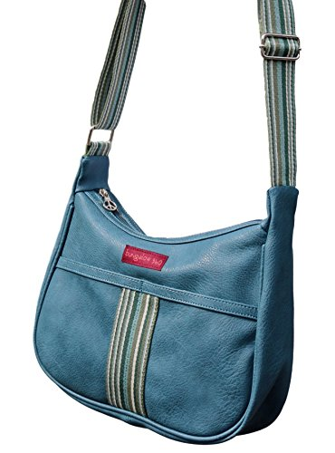 Bungalow 360 Original Vegan Leather Striped Hobo Bag (Blueberry)