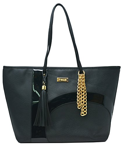 bebe Barbie Embossed Emblem Logo Tote with Chain