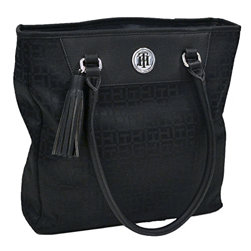 Tommy Hilfiger Tote Purse With Tassel Charm (Black)