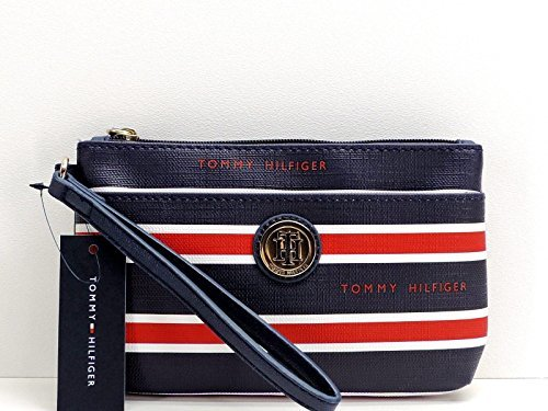 Tommy Hilfiger Wristlet Blue Red White Stripe Top Zip Clutch