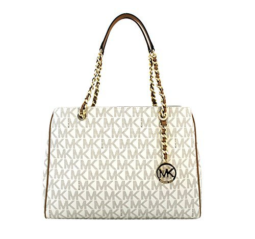 MICHAEL Michael Kors Susannah Large Tote Satchel Leather Handbag (Vanilla/Acorn)