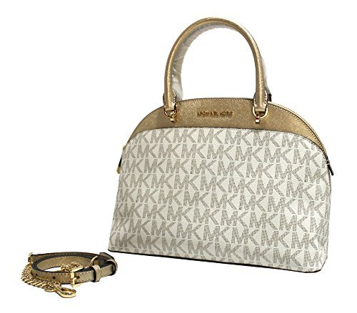 MICHAEL Michael Kors EMMY Women's Shoulder Handbag LARGE DOME SATCHEL (Vanilla /gold)
