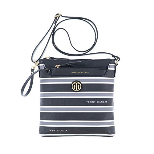 Tommy Hilfiger Crossbody and Coin Purse Set (Black Striped)